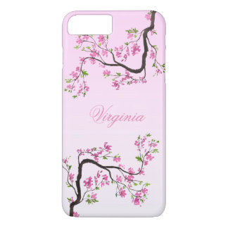 Floral Cherry Blossom Flower Pink Monogram iPhone 8 Plus/7 Plus Case