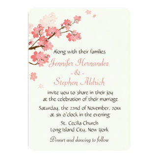 Floral Cherry Blossom Flower White & Pink Wedding Card