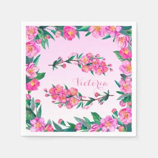 Floral Cherry Blossom Flowers Branch Pink Monogram Paper Napkin