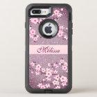 Floral Cherry Blossom Mauve Bling Monogram OtterBox Defender iPhone 8 Plus/7 Plus Case