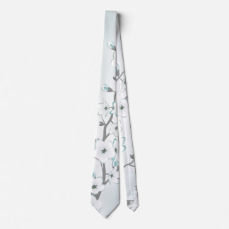 Floral Cherry Blossom Mint White Tie