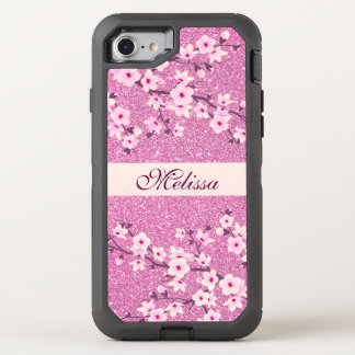 Floral Cherry Blossom Pink Bling Monogram OtterBox Defender iPhone 8/7 Case
