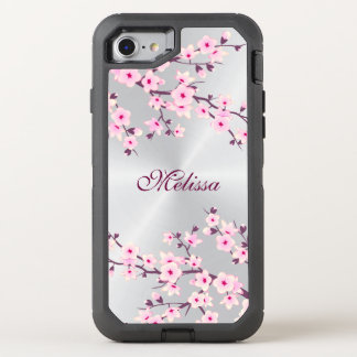 Floral Cherry Blossom Silver Pink Monogram OtterBox Defender iPhone 8/7 Case