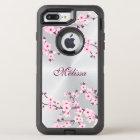 Floral Cherry Blossom Silver Pink Monogram OtterBox Defender iPhone 8 Plus/7 Plus Case