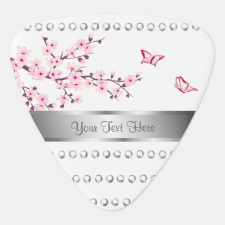 Floral Cherry Blossom Silver Stripes White Pink Guitar Pick