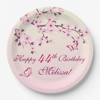 Floral Cherry Blossoms  Birthday Party 9 Inch Paper Plate