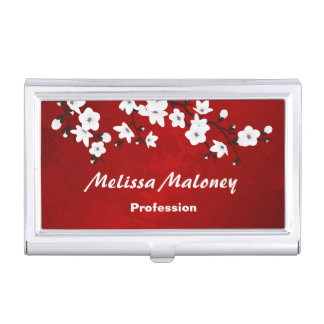 Floral Cherry Blossoms Black Red White Business Card Holder