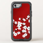 Floral Cherry Blossoms Black White Red OtterBox Defender iPhone 8/7 Case