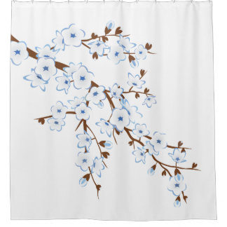 Floral Cherry Blossoms Blue White Classic