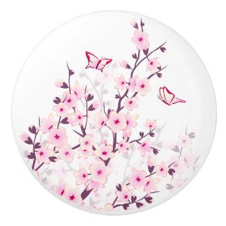 Floral Cherry Blossoms Butterflies Ceramic Knob