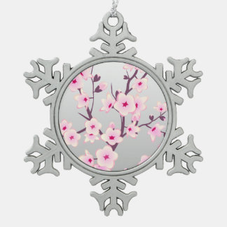 Floral Cherry Blossoms Christmas Tree Ornament. Snowflake Pewter Christmas Ornament