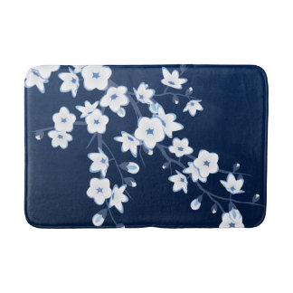 Floral Cherry Blossoms Dark Blue White Bath Mat