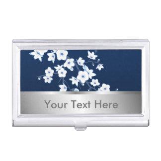 Floral Cherry Blossoms Dark Blue White Business Card Holder