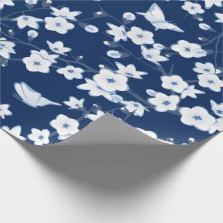 Floral Cherry Blossoms Dark Blue White Wrapping Paper