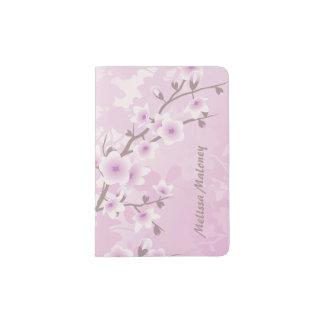 Floral Cherry Blossoms Dusky Pink Monogram Passport Holder