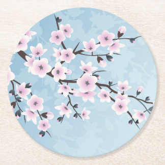 Floral Cherry Blossoms Dusky Pink Pale Blue Round Paper Coaster