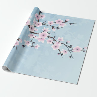 Floral Cherry Blossoms Dusky Pink Pale Blue Wrapping Paper