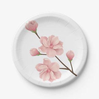 Floral Cherry Blossoms Flowers Wedding Party Paper Plate