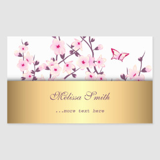 Floral Cherry Blossoms Gold Sticker