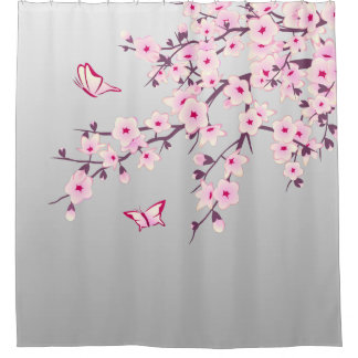 Floral Cherry Blossoms Gray Pink