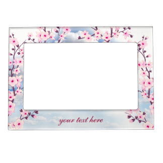 Floral Cherry Blossoms Landscape Picture Frame Magnets