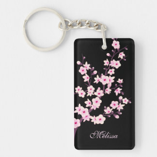 Floral Cherry Blossoms  Monogram Keychain