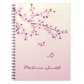 Floral Cherry Blossoms Monogram Notebook