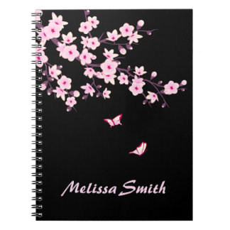 Floral Cherry Blossoms Monogram Pink Black Note Books