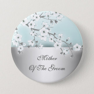 Floral Cherry Blossoms Mother Of The Groom 3 Inch Round Button