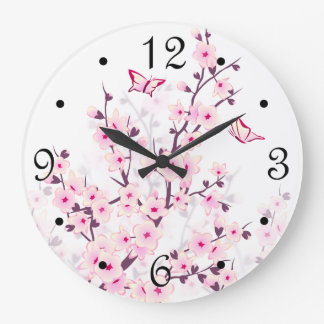 Floral Cherry Blossoms Numbers Large Clock