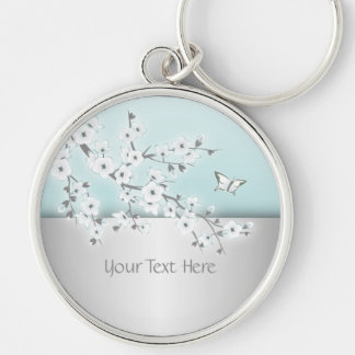 Floral Cherry Blossoms Personalize Keychain