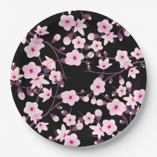 Floral Cherry Blossoms Pink Black 9 Inch Paper Plate