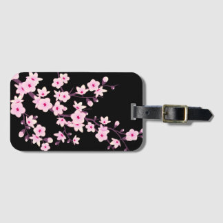 Floral Cherry Blossoms Pink Black Luggage Tag