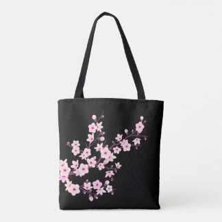 Floral Cherry Blossoms Pink Black Tote Bag