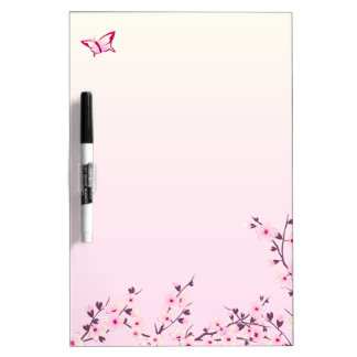 Floral Cherry Blossoms Pink Dry Erase Board