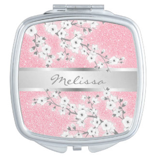 Floral Cherry Blossoms Pink Glitter Vanity Mirrors