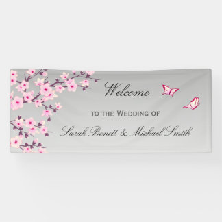 Floral Cherry Blossoms Pink Gray Wedding Banner