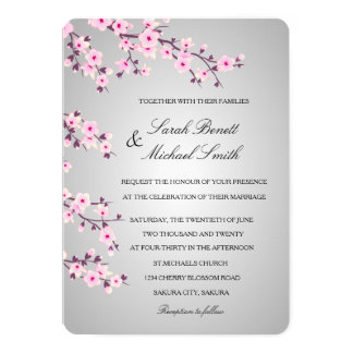 Floral Cherry Blossoms Pink Gray Wedding Card
