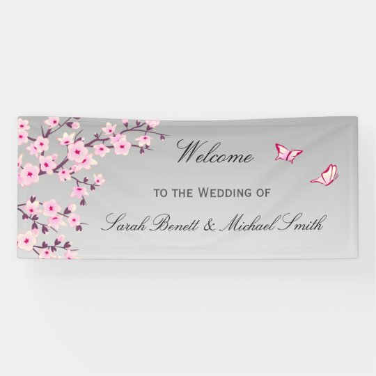 Floral Cherry Blossoms Pink Grey Wedding Banner