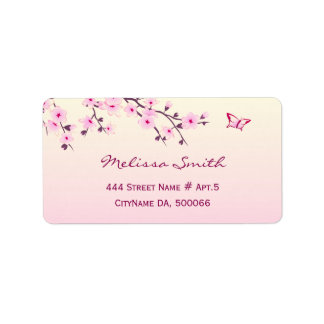 Floral Cherry Blossoms Pink Label