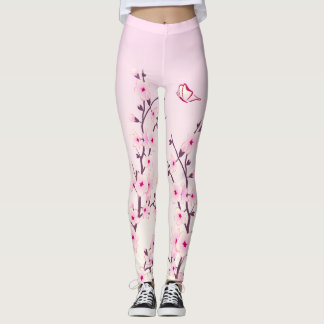 Floral Cherry Blossoms Pink Leggings