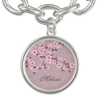 Floral Cherry Blossoms Pink Silver Charm Bracelets