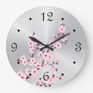 Floral Cherry Blossoms Pink Silver Large Clock