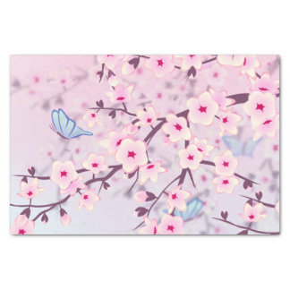 Floral Cherry Blossoms Pink Tissue Paper