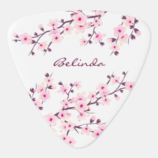 Floral Cherry Blossoms Pink White Guitar Pick