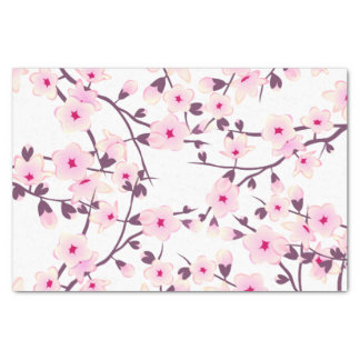 Floral Cherry Blossoms Pink White Tissue Paper