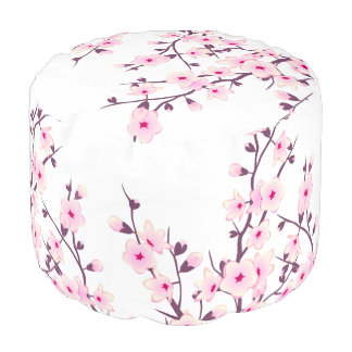 Floral Cherry Blossoms Pouf