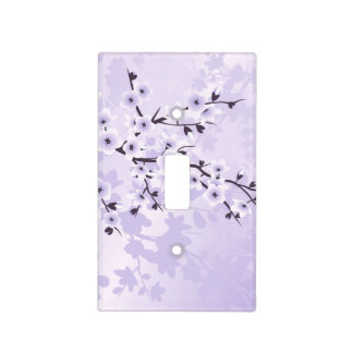 Floral Cherry Blossoms Purple Light Switch Cover