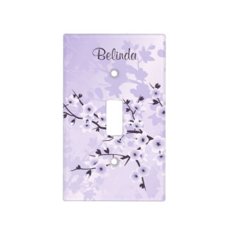 Floral Cherry Blossoms Purple Monogram Light Switch Cover