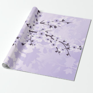 Floral Cherry Blossoms Purple Wrapping Paper